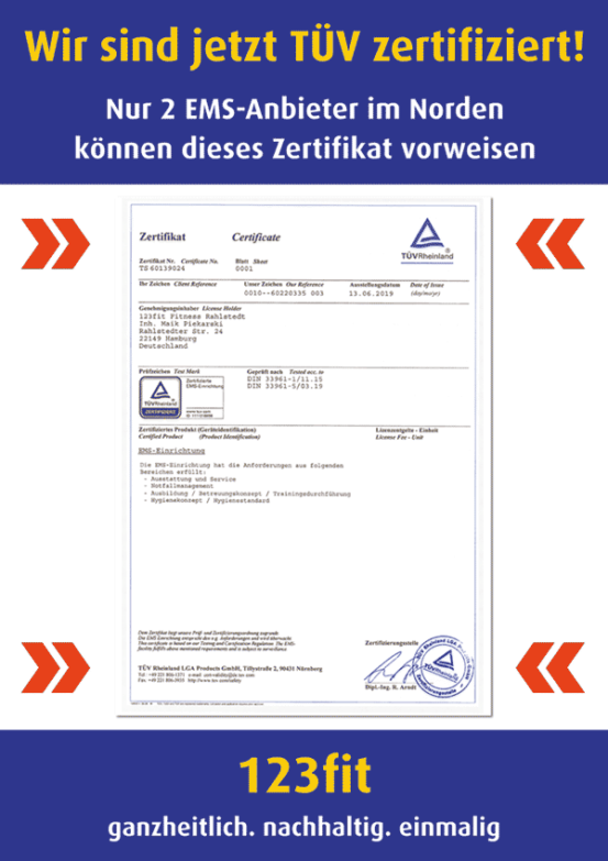 123fit Rahlstedt EMS TÜV zertifiziert